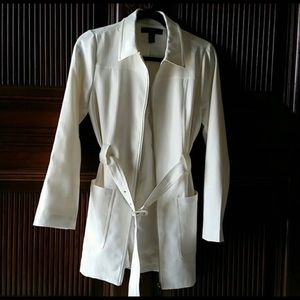 White zippered belted Long blazer